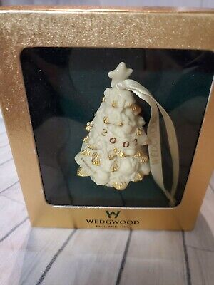 Wedgwood Christmas Tree Ornament 2002 3D White Ceramic Gold Accents w original b
