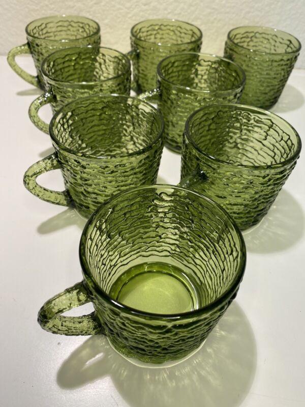 Anchor Hocking Soreno Coffee Cups Mugs 8Avocado Green Olive Tea Snack Vtg 1960s