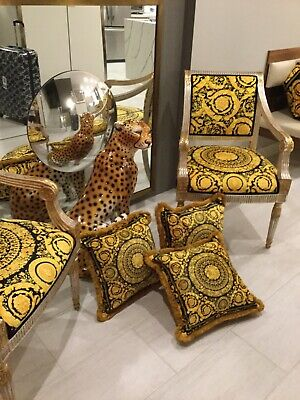 Costom Made Versace Barocco Black Gold Pillows. Set Of-3 With Gold Fringe 28/28