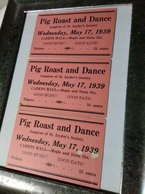 3 Very Rare Vintage 1939 Pig Roast And Dance Tickets May 17 Cadets Hall Auspices