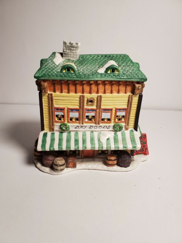 Christmas Village Houses Dry Goods Grocery Store 1995