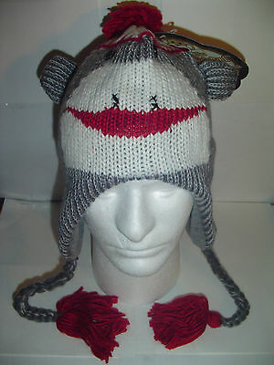 NEW SOCK MONKEY Gray WINTER FLEECE LINED KNIT HAT 1 sz Beanie Cap YOUTH TO - Adult Sock Monkey Hat