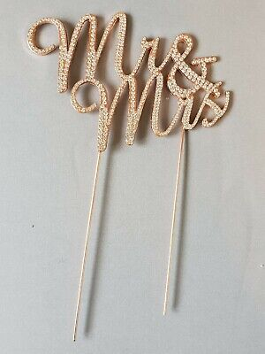WEDDING CAKE TOPPER PICK DECORATION  MR & MRS RHINESTONE DIAMANTE ROSE GOLD  ()