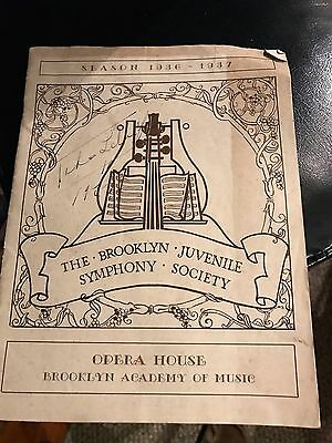 PROGRAM BROOKLYN JUVENILE SYMPHONY ORCH. OCE 1936-37