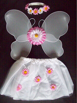Girls Fancy Dress WHITE FLOWER FAIRY costume skirt wings headband Age 2 - 6 NEW ()