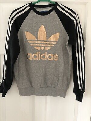 Women's Adidas Black, Grey Gold Jumper Size 10