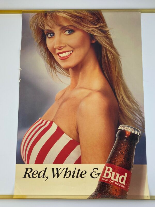 Vintage Budweiser Beer Poster Red White And Bud Hot Blue Eyed Blonde Babe Sexy