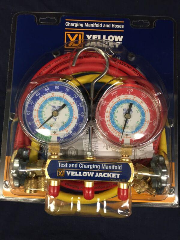 "YELLOW JACKET R22/134A/404A MANIFOLD 3-1/8"" GAUGES w/ 60"" PLUS II HOSES  42006"