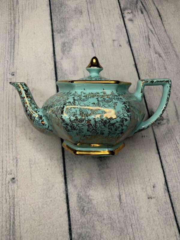 4167 Rare Arthur Wood Aqua And Gold Teapot Made In England