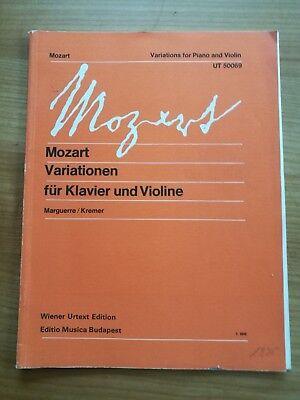Noten. Mozart. Variationen für Klavier und Violine KV 374a, 374b.
