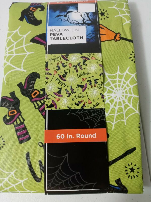 Halloween Peva Tablecloth 60 In. Round Green With Witch Boots And Brooms Wicked