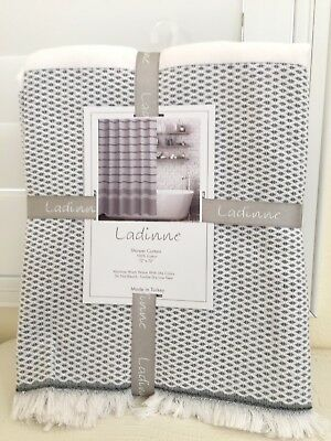 "Profusion CURTAIN Fabric By Ladinne Luxury TURKEY100% Cotton Sombre White 72x72""New"