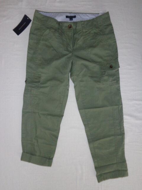 Tommy Hilfiger Women's Cargo Capri Pants Green 100 Cotton Multi ...
