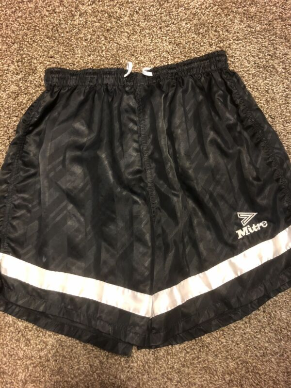 Vintage Nylon Shiny Soccer Shorts Black Mitre