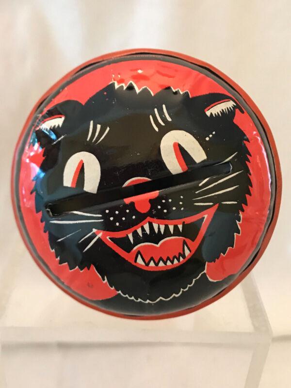 Vintage Halloween Kirchhof Life of the Party Cat Tin Litho Rattler Noisemaker