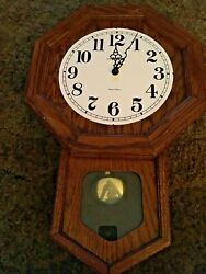 Howard Miller Octagonal Oak Cottage Dual Chime Wall Clock