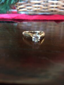 14k engagement ring with 55point cut diamond