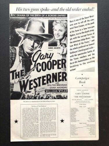 """The Westerner Pressbook (Gary Cooper, 1940) - 4 Pages - 11"""" x 17""""  EX+"""