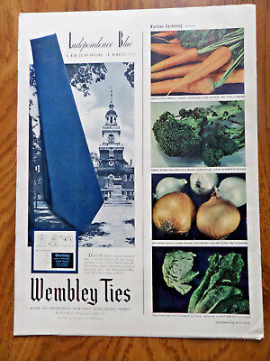1943 Wembley Ties Ad Independence Blue Hall Theme