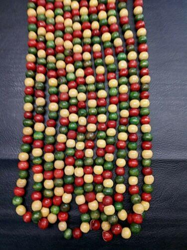 3 Strands Wooden Beads Christmas Garland Red Green Beige 8