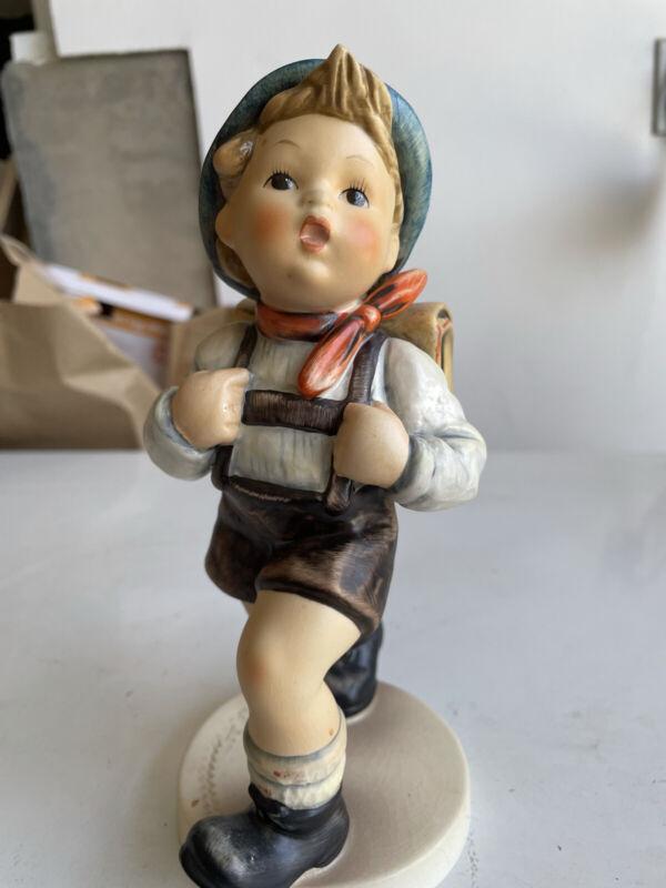 Collectable Goebel Hummel Figurine of School Boy with Satchel Signed Kyle Bohm