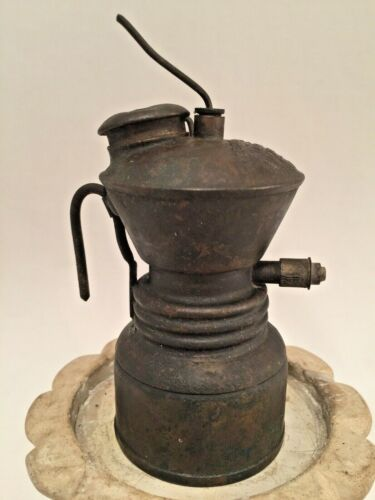 The Baldwin Lamp Miner's Carbide Light Brass Antique Patented 1900 & 1906