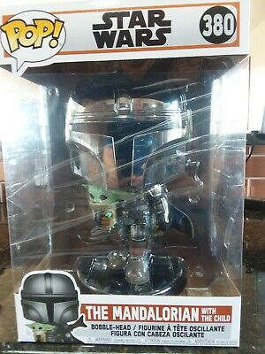 Funko Pop Star Wars Mandalorian With Child Yoda #380 10 Inch New Fast Shipping