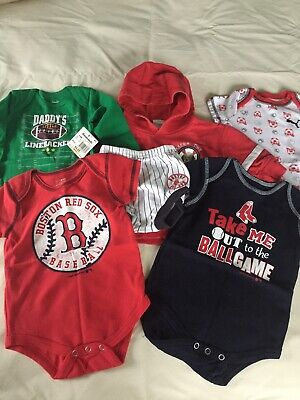 Baby Boy 3-6M Clothes Lot Red Sox Baseball Onsies Sweatshirt Diaper cover 1 NWT Infant Baseball Clothes
