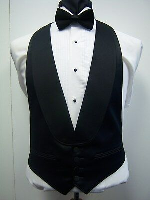 BLACK SATIN 4 BUTTON FORMAL VEST with SATIN SHAWL LAPEL - Easy fit (Satin Shawl Vest)