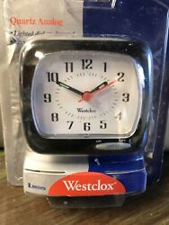 Westclox Quartz Analog Alarm Clock w Snooze & Lighted Dial on Demand * Black