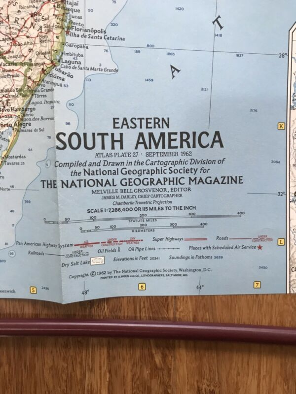 1962 (Sept) Eastern South America; National Geographic; Excellent Condition