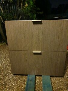 2 draw cabinet large draws unit timber look laminate for kitchen.