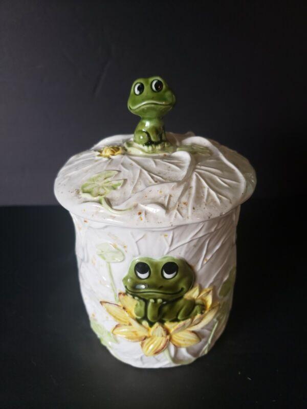 Neil The Frog Medium Ceramic Cookie Jar Japan 1970