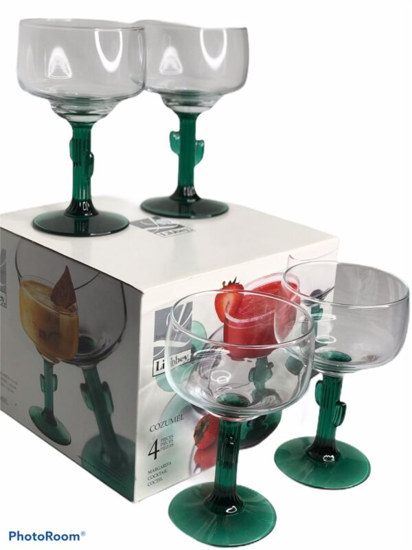 Set Of 4 Cactus Glasses Libbey Cozumel Green Stems Margarita Cocktail In Box
