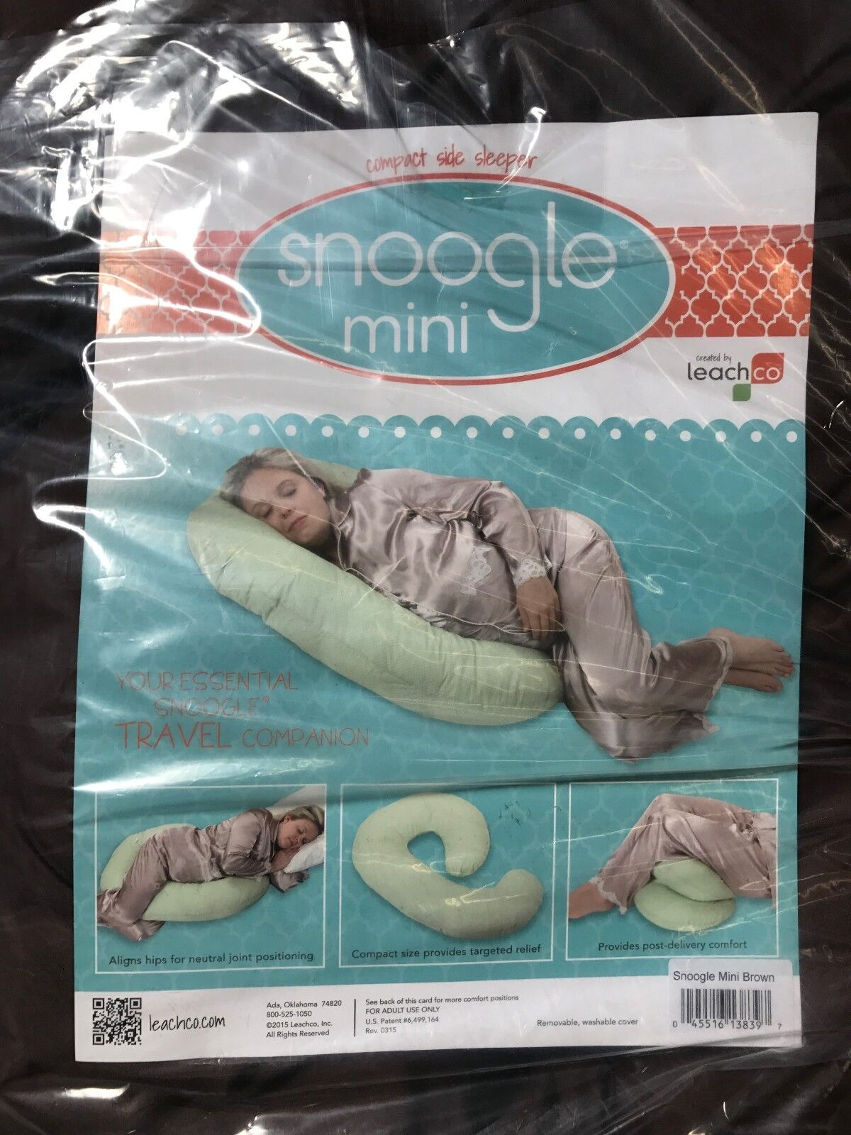 LEACHCO SNOOGLE MINI BODY PILLOW with BROWN COVER