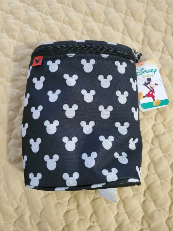 Disney baby Mickey Mouse Insulated BLACK double bottle holder NEW