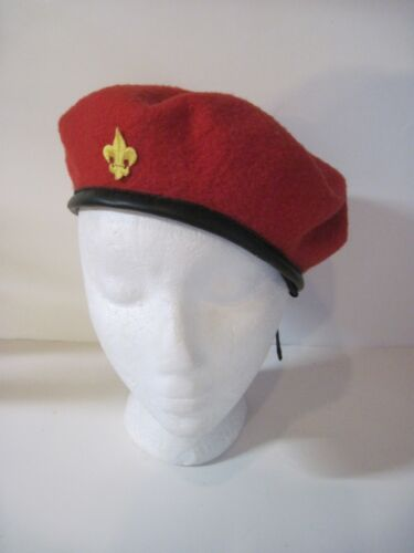 Vintage Red Wool Boy Scout Beret / Size Large /  wool and nylon / 1980