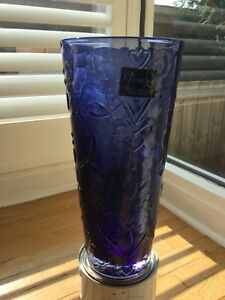 Mouth Blown Venezia Blue Vase (initials on bottom LLB)