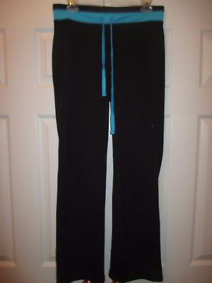 Be Inspired Ladies Athletic Pants Black Turquoise Small  31  Inseam
