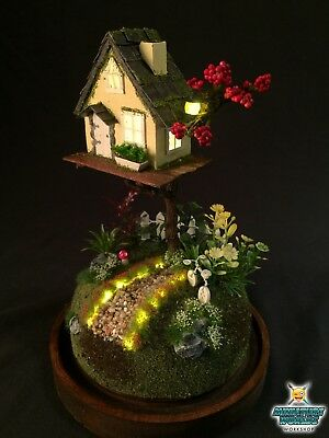 Miniature Fairy World Dome Night light (Yellow Home)   Enchanted world   Diorama