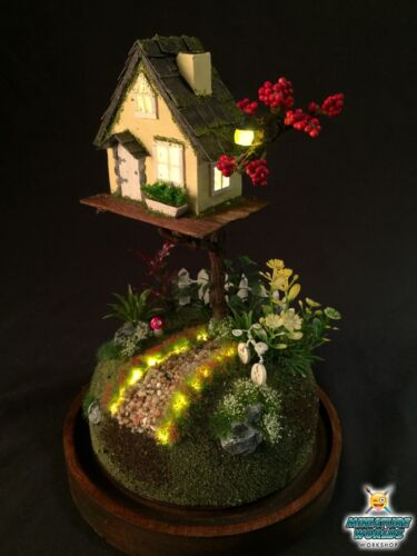 Miniature Fairy World Dome Night light (Yellow Home) | Enchanted world | Diorama