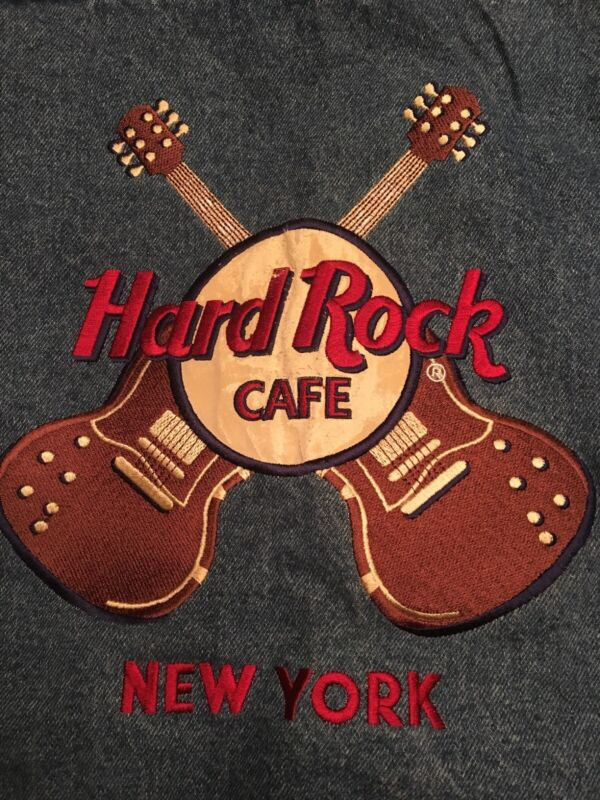 Mens Large Hard Rock Cafe New York Denim Jean Jacket Rock and roll