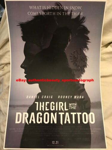 THE GIRL WITH THE DRAGON TATTOO DANIEL CRAIG ROONEY MARA SIGNED 12x18 REPRINT RP