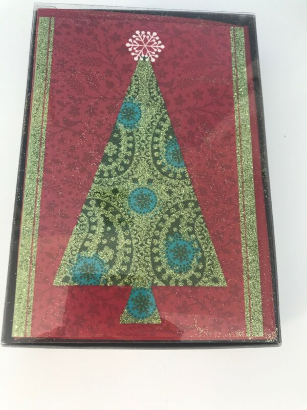 16 Hallmark Christmas Cards Christmas Tree With Glittered Green