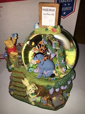 Disney Musical Winnie The Pooh Pooh Smiling  Photo Frame Snow Globe Rare See Des - Snow Globe Photo Frame