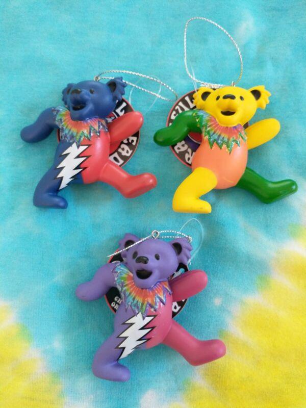 Set of Three (3) Grateful Dead Dancing Bear Christmas Ornaments