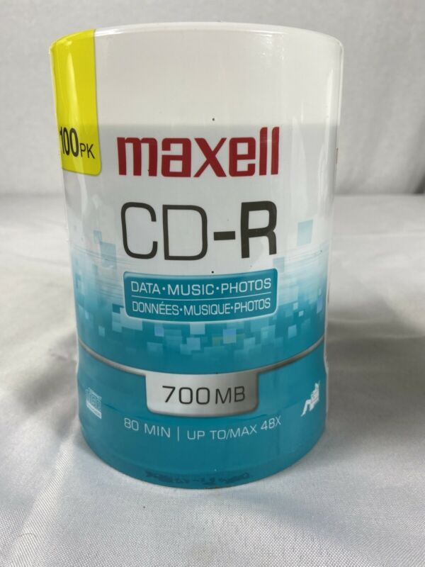NEW! Maxell CD-R 48X Recordable Media 100 Pack Spindle 700MB #648200