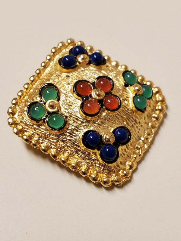 """Vintage Stunning Gold Tone Cabochon Floral Colored Stones,  Beaded 1"""" Pin  80"""