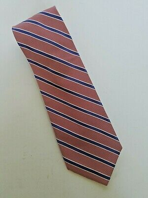 Lands End Mens Neck Tie Tall Red Blue White Diagonal Striped Hand Sewn Long Tall Mens Tie