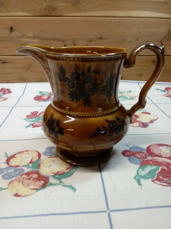 VTG Lord Nelson Pottery 11-75 Milk Water Pitcher Brown/Black Roses/ Floral